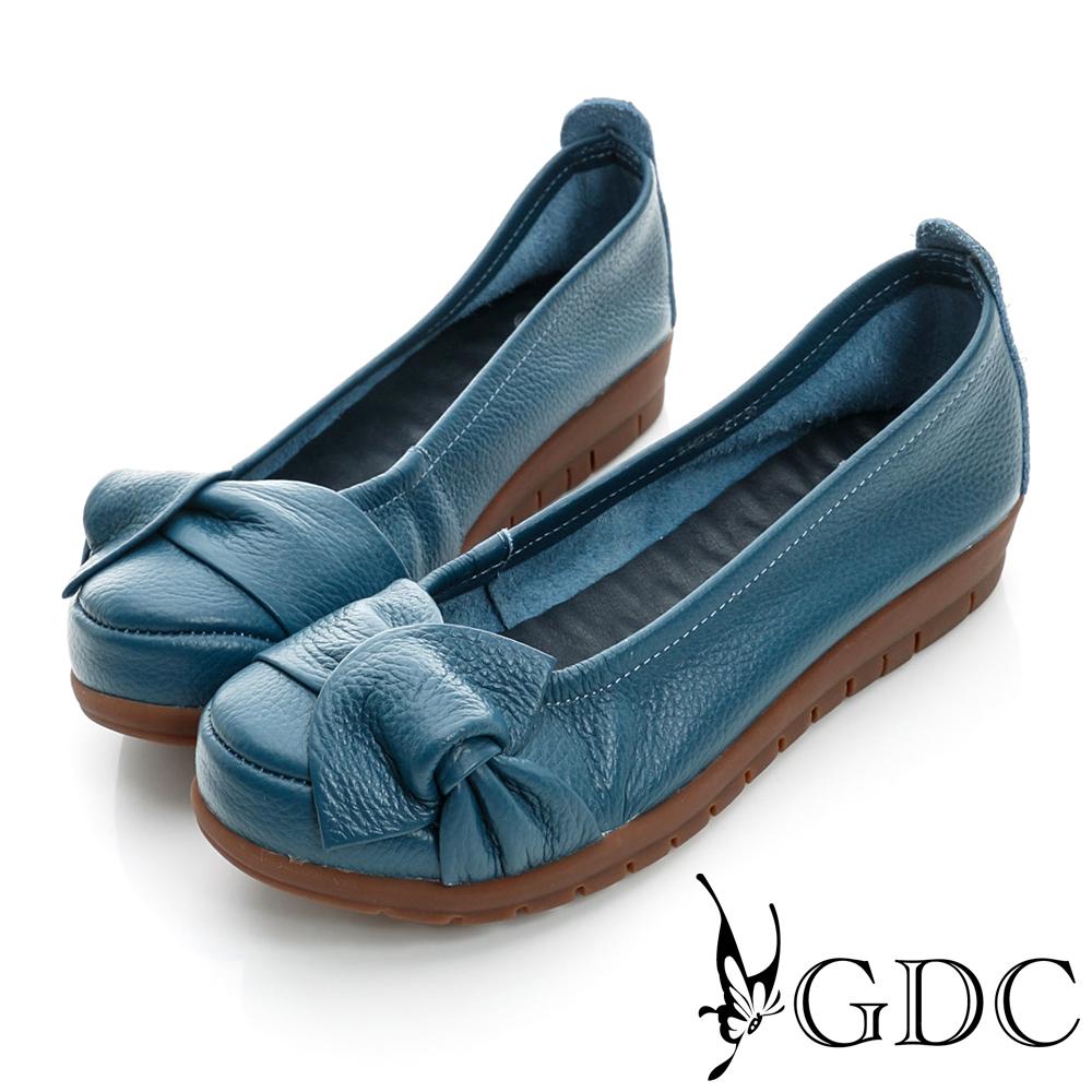 GDC百搭-側蝴蝶加厚真皮平底娃娃鞋-藍色