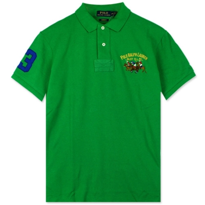 Ralph Lauren 彩色雙馬3號臂章POLO衫(綠)