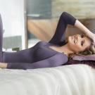 黛安芬-eks瞬間發熱蕾絲V領九分袖衛生衣M-EL(羅蘭紫)
