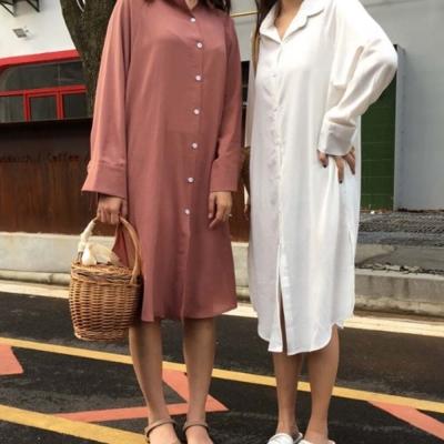 La Belleza素色超長版紗質襯衫開叉洋裝