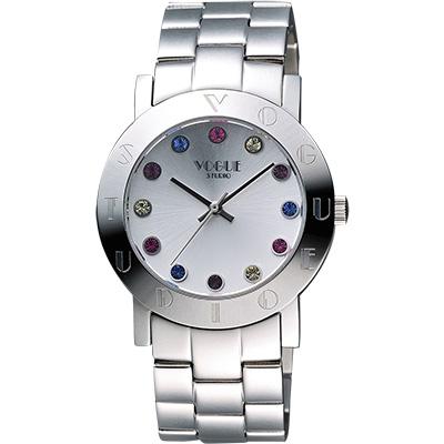 VOGUE 繽紛彩色晶鑽腕錶-銀/36mm
