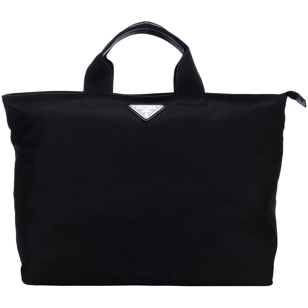 PRADA 三角LOGO尼龍托特包(黑色)