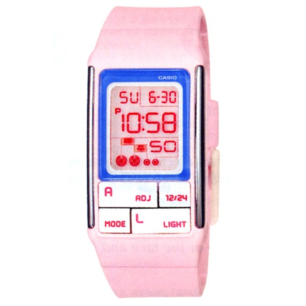 CASIO 太空漫步幾何方塊數字錶(LDF-51-4A)-粉紅/23.6mm
