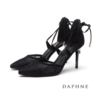 達芙妮DAPHNE 高跟鞋-交叉綁帶蕾絲尖頭鞋-黑