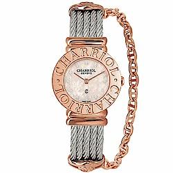 CHARRIOL夏利豪ST-TROPEZ 經典鎖鍊腕錶-粉紅貝面25mm
