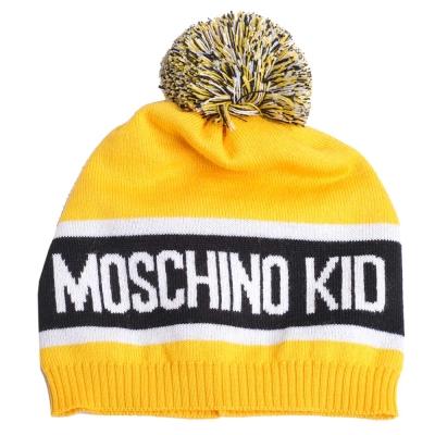 MOSCHINO KID品牌字母大圖騰LOGO高質感薄羊毛帽(鮮黃)