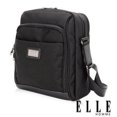 ELLE HOMME 優雅紳士風範IPAD置物直立式極致橫條紋機能側背包設計-黑