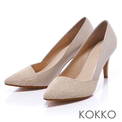 KOKKO經典再現 - 時髦尖頭斜切高跟鞋 - 蕾絲裸
