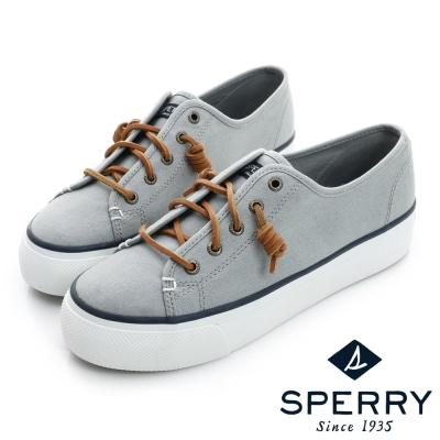 SPERRY-休閒素面熱銷厚底帆布鞋-女-沉穩灰