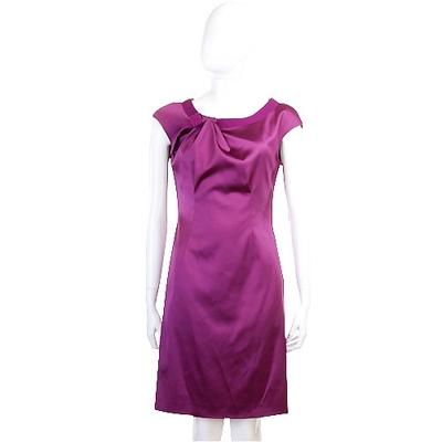 PHILOSOPHY 紫色緞面抓褶短袖洋裝