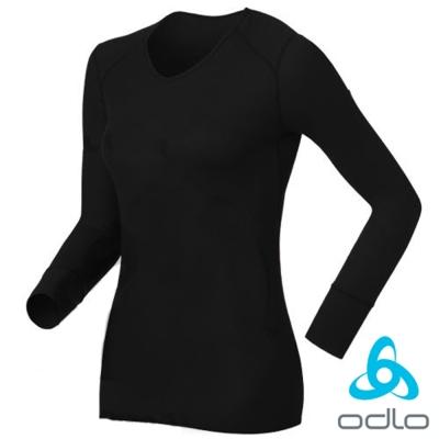 【瑞士 ODLO】warm effect 女V領機能型銀離子保暖內衣.衛生衣/黑