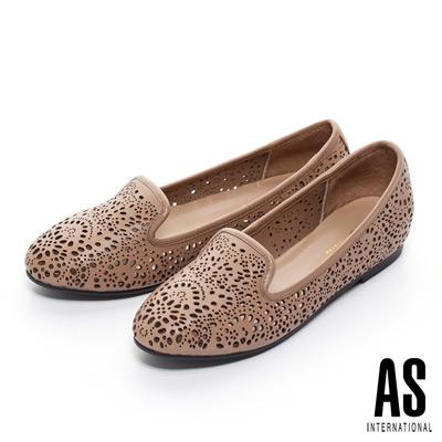 AS-精緻雕花打洞羊皮樂福平底鞋-米