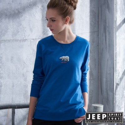 JEEP 女裝 美式風格圖騰造型長袖TEE -藍色