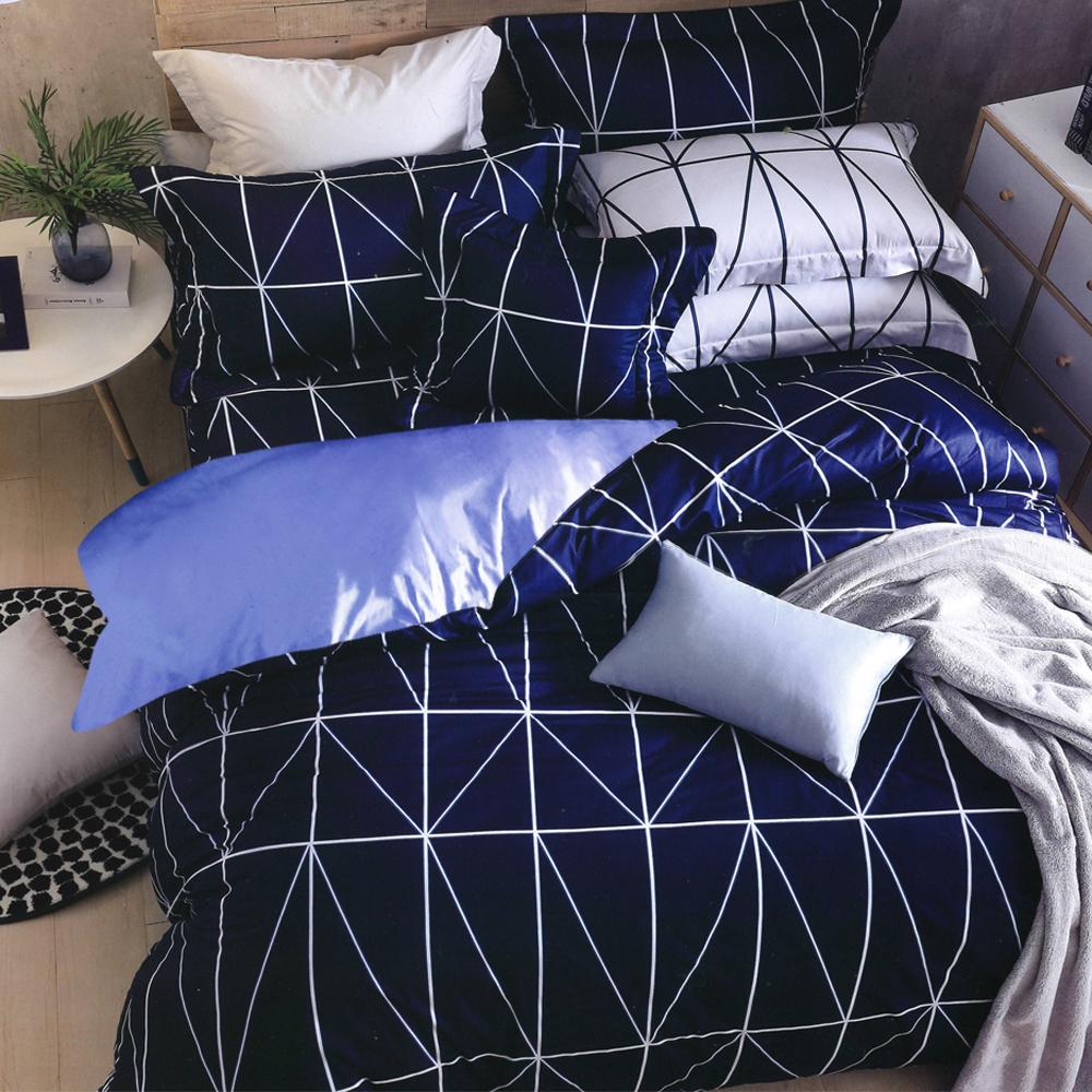 Carolan-品味紳士 台灣製加大五件式純棉床罩組