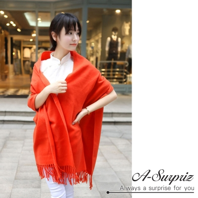 A-Surpriz 氣質優雅素色寬版仿羊絨披肩圍巾(橘)