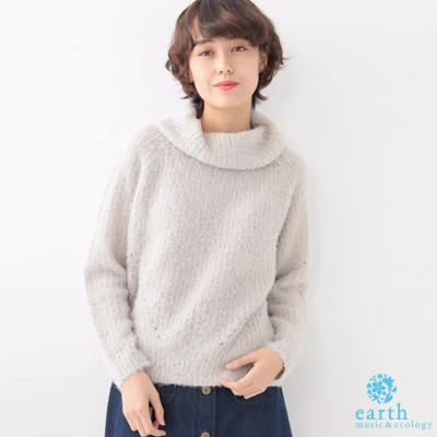 earth music 舒適高領素面長袖針織上衣