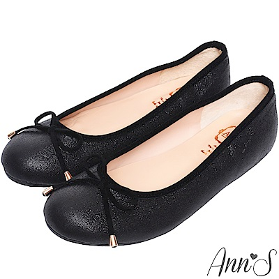 Ann'S容易親近-細緻光澤感3D乳膠蝴蝶結平底娃娃鞋-黑