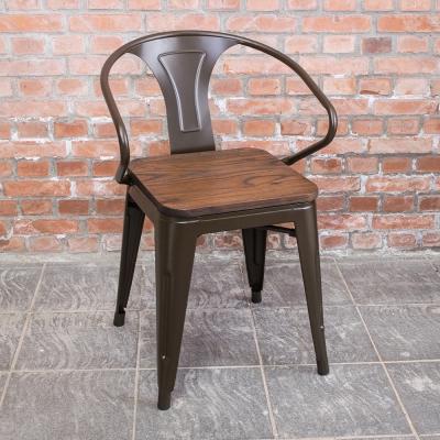 Boden-布魯克工業風實木鐵腳餐椅/單椅-53x50x73cm