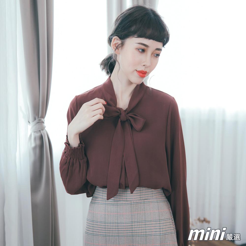 上衣 立領綁帶雪紡縮袖襯衫 四色-mini嚴選