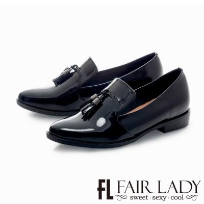 Fair Lady 雅痞隨性垂墜流蘇漆皮樂福鞋 黑