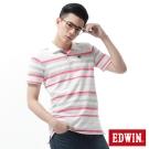 EDWIN POLO衫 PK寬條POLO衫-男-白色