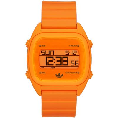 adidas 線條創造三葉數位腕錶-螢光橘/38mm
