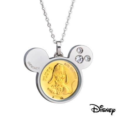 Disney迪士尼金飾 可愛布魯托黃金/白鋼項鍊