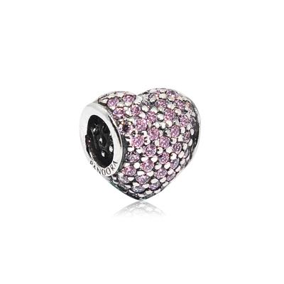 Pandora 潘朵拉 心型粉鑽 純銀墜飾 串珠