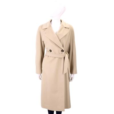 Max Mara-WEEKEND 經典駝色縫線細節綁帶羊毛大衣(100%WOOL)
