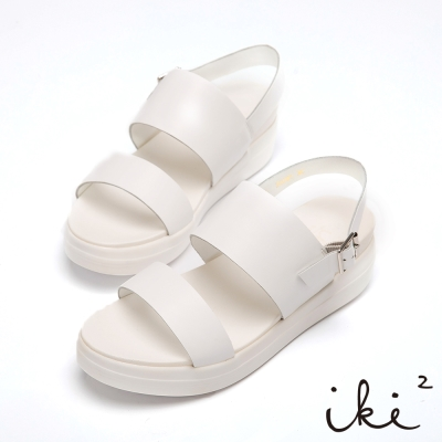 iki2-真皮寬版厚底涼鞋-簡約白