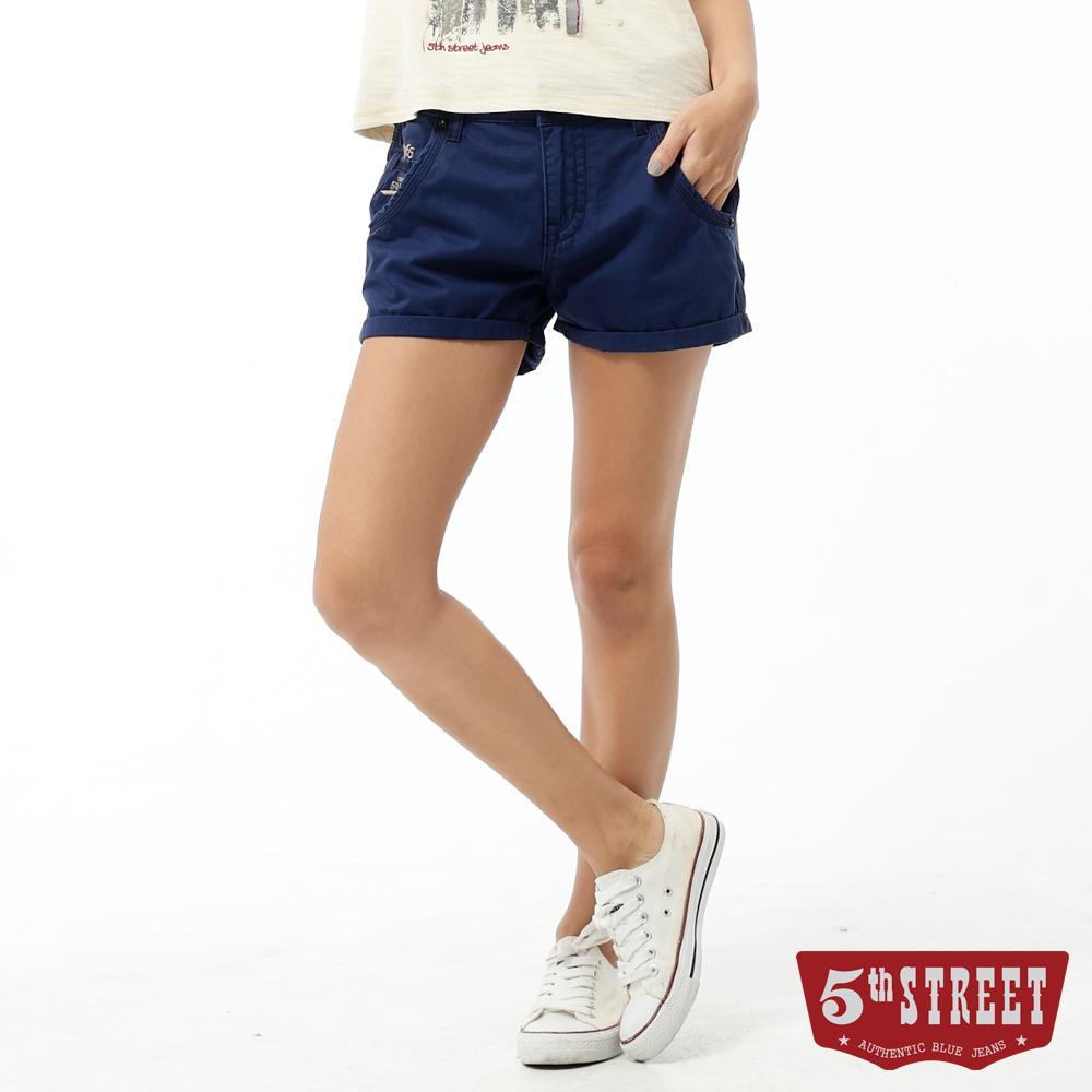 5th STREET 短褲 1965反摺休閒色褲-女-丈青