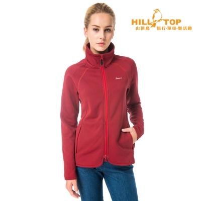 【hilltop山頂鳥】女款吸濕ZISOFIT保暖刷毛外套H22FT2紅/黑
