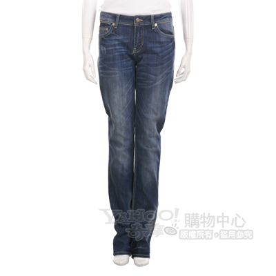 ICE 藍色抓痕亮片飾牛仔褲