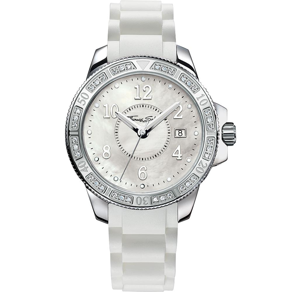 Thomas Sabo Ladies 彩漾珍珠貝晶鑽腕錶-珠貝x白色錶帶/38mm