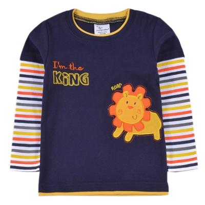 歐美風 彩色條紋獅子  男童純棉長袖T恤