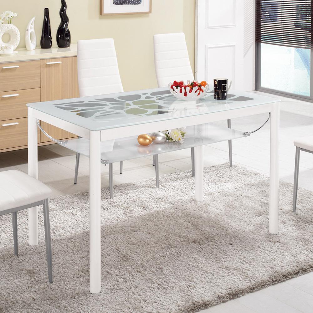 Bernice-克萊爾4尺白色玻璃餐桌120x70x75cm