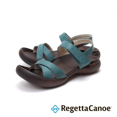 RegettaCanoe-交叉皮革鞋面款樂步鞋-湖水藍