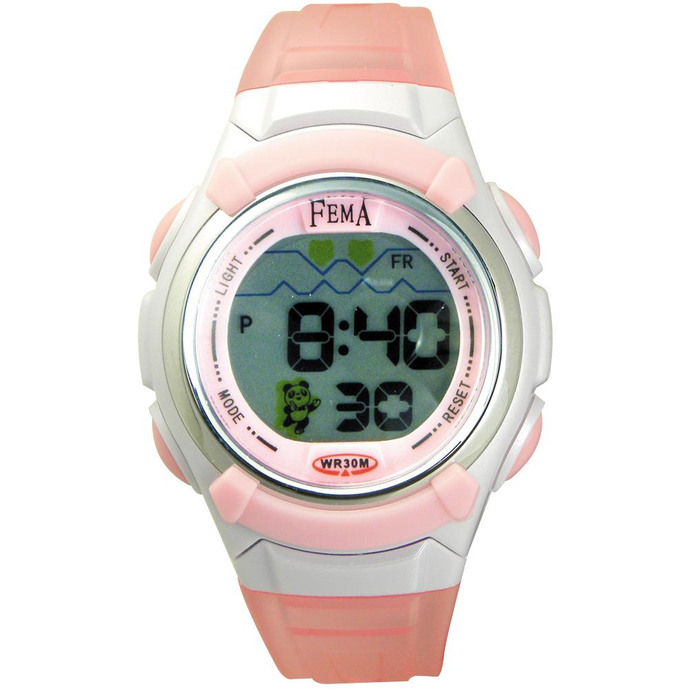 FEMA 熊貓果凍 鬧鈴夜光 數位兒童錶(P327)-粉紅/33mm @ Y!購物