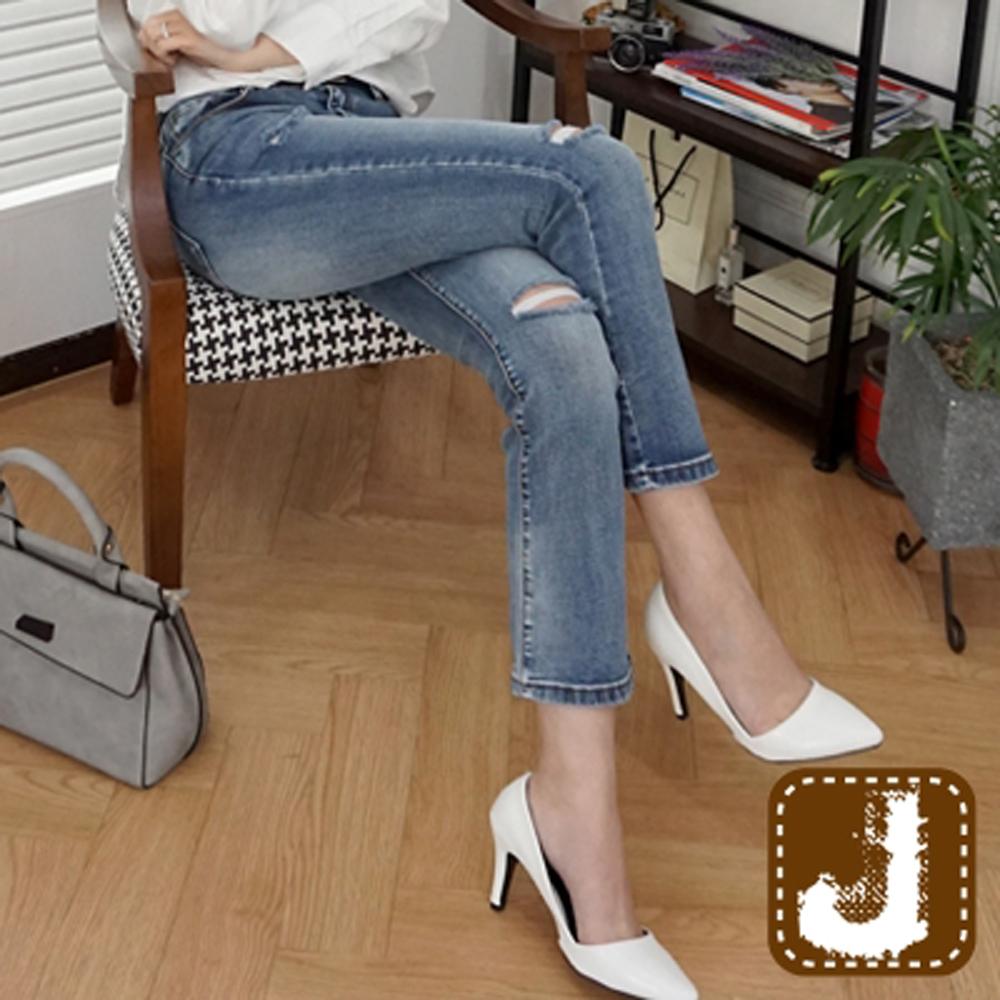 正韓 割破抽鬚顯瘦直筒長褲-(水洗藍)100%Korea Jeans
