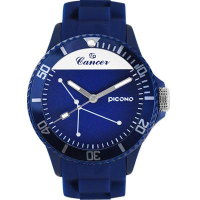 PICONO 星座系列休閒腕錶-巨蟹座x藍/ 48 mm