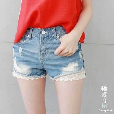 糖罐子-破損口袋捲邊蕾絲褲管單寧短褲