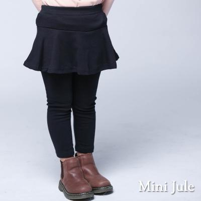 Mini Jule 童裝-內搭褲裙 純色傘擺棉質內搭長褲裙(寶藍)