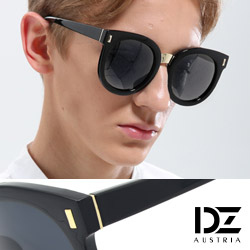 DZ 圓漾長錐菱釘 抗UV太陽眼鏡 墨鏡(黑框灰片)