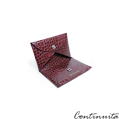 Continuita 康緹尼 頭層牛皮美國鱷魚紋摺疊式收納名片夾-桃紅色