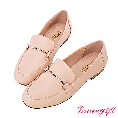 Grace gift-一字金屬飾條平底樂福鞋 淺粉