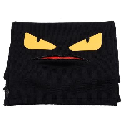FENDI 經典BUGS系列小毛怪造型羊毛針織圍巾(黑)