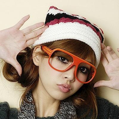Aimee Toff 雙色百搭毛球造型針織毛帽(紅)