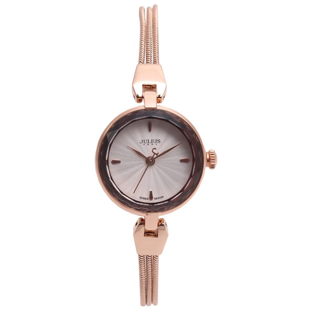 JULIUS聚利時艾莉兒的海螺貝殼面鍊飾腕錶-玫瑰金25mm