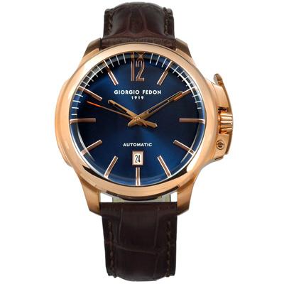 GIORGIO FEDON 1919 自動上鍊機械錶真皮手錶-藍x玫瑰金框x咖啡/46mm