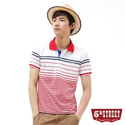 5th STREET POLO衫 運動風條紋POLO衫-男-紅色